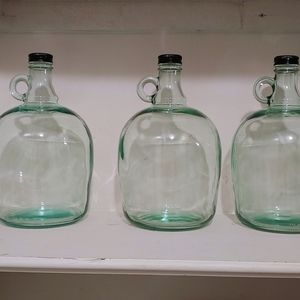 (3) gallon jug jar glass with handle